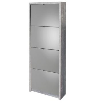 Mirrored 24 Pairs Shoe Cabinet