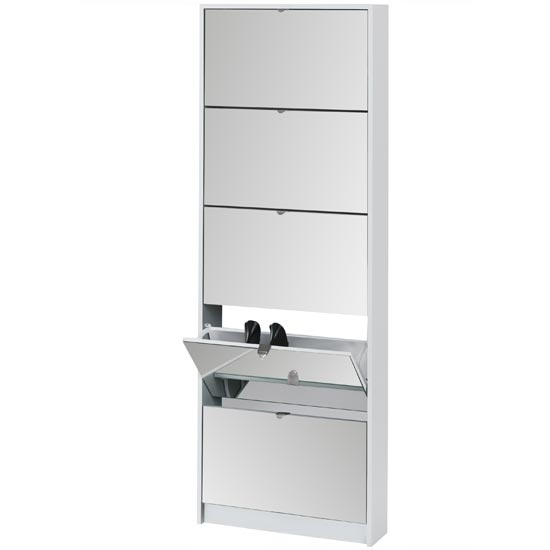 Shoe Tipper with Mirrored Doors white